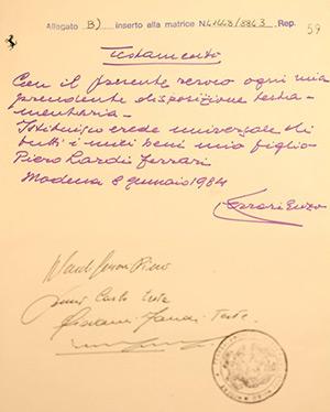 Il Testamento di Enzo Ferrari
