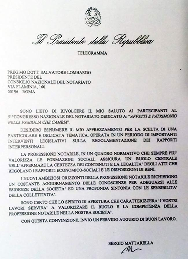 Telegramma di Sergio Mattarella