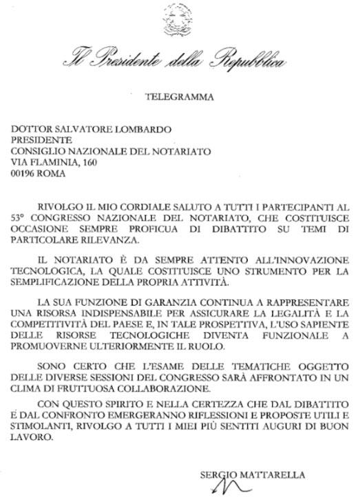 Saluto del presidente della Repubblica Sergio Mattarella